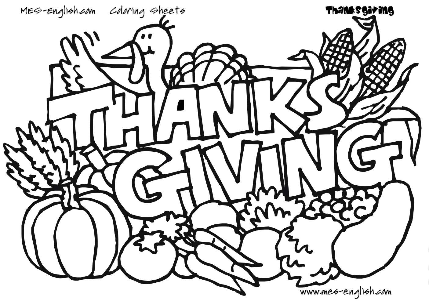 """A turkey and vegetables with the phrase """"Thanksgiving."""""""