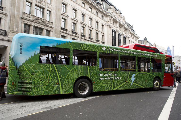 Electric bus pulling over for passengers