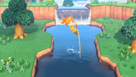 A character pole-vaults across a lake in Animal Crossing: New Horizons
