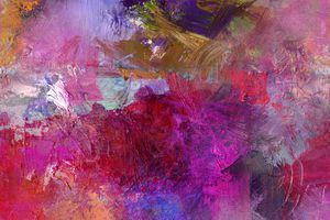 Abstract oil painting with opaque and transparent paints