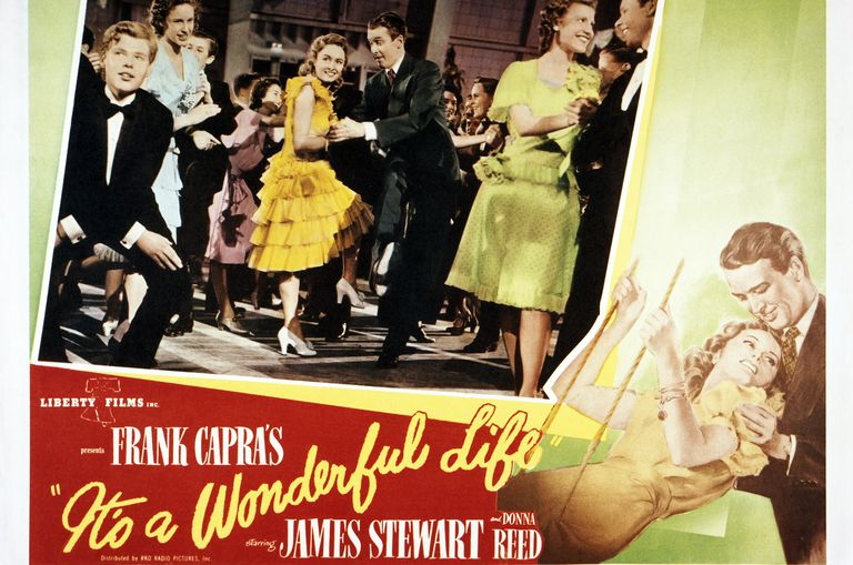"A poster for Frank Capra's 1946 comedy-drama ""It's A Wonderful Life"" starring James Stewart and Donna Reed"