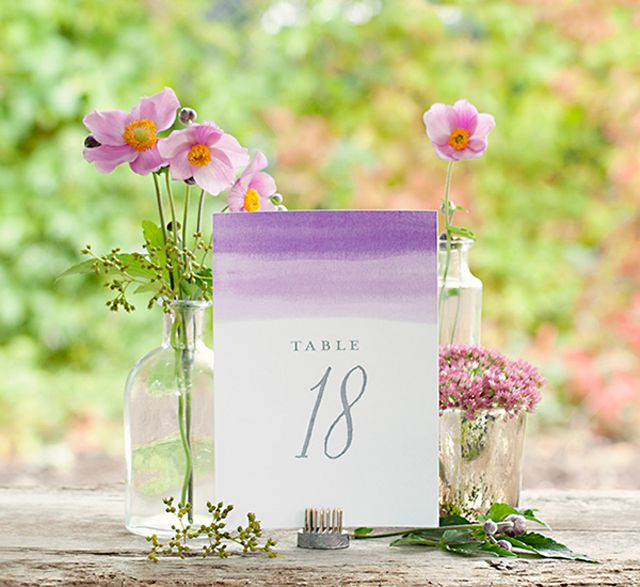Ombre wedding table numbers.