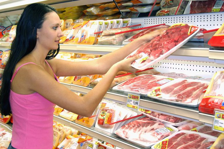 Woman buying packet of Meat at Grocery Store