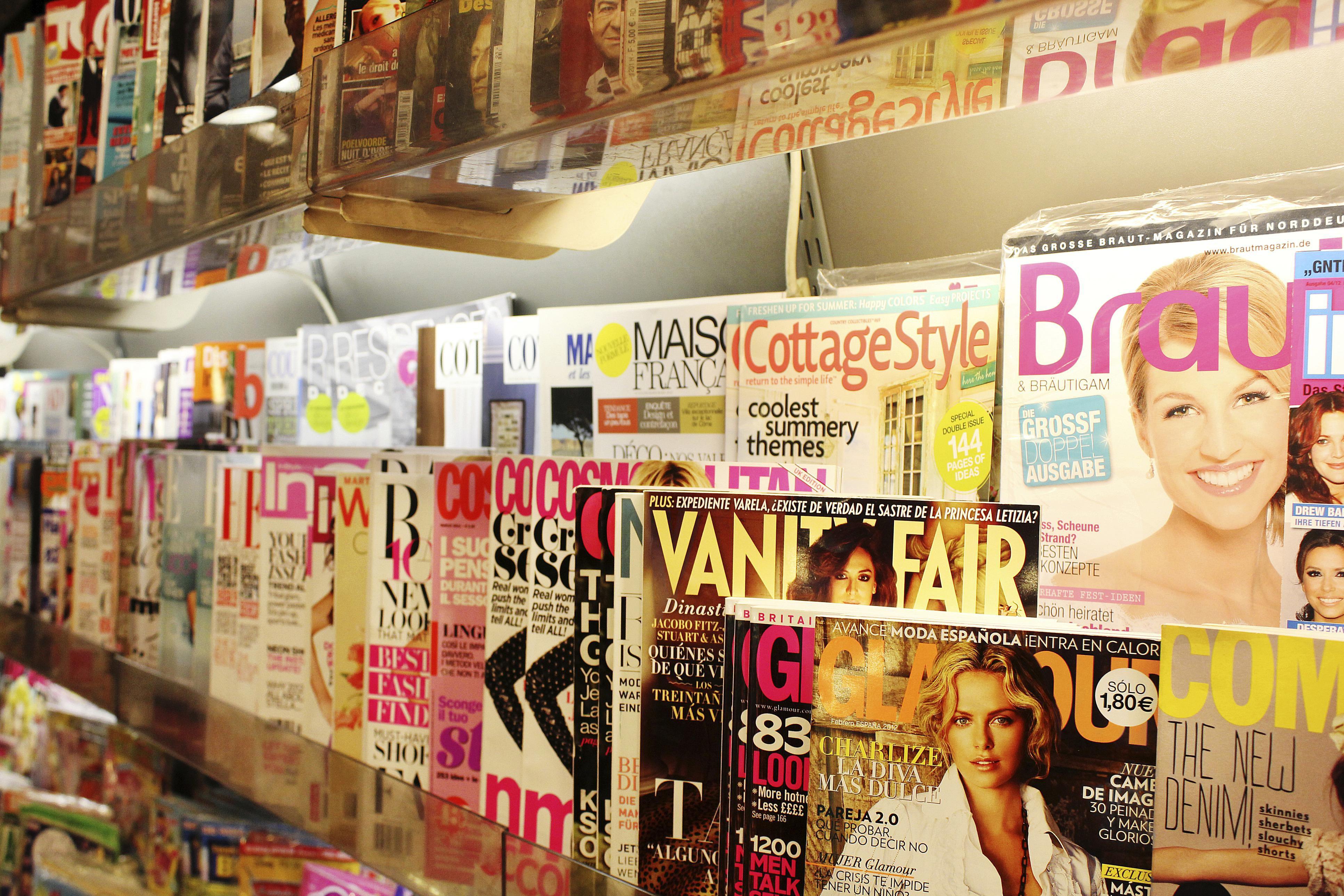 A close-up of a magazine rack.