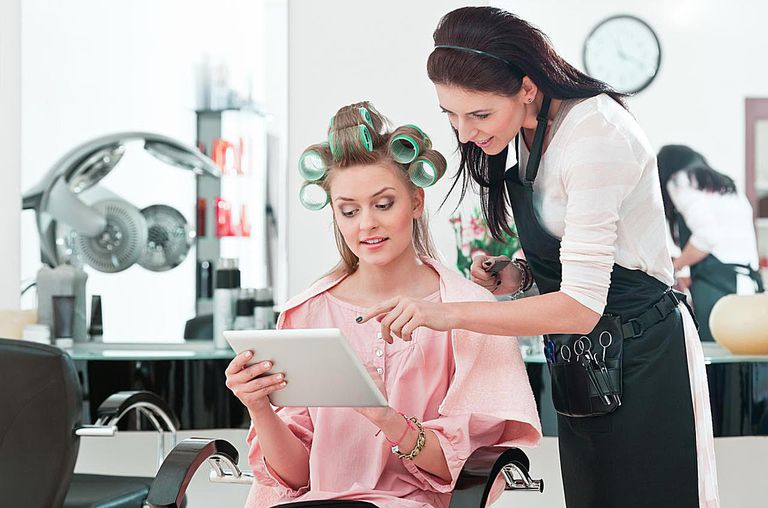 Young woman in a hair salon