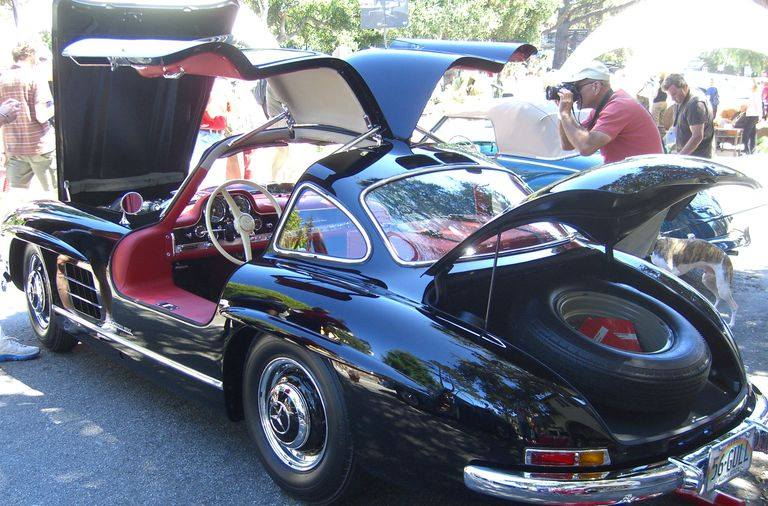 Mercedes-Benz 300SL in black with gullwing doors open