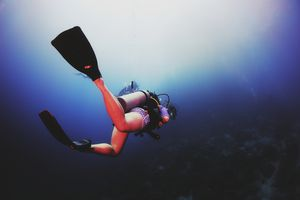 Scuba diver swimming under water.
