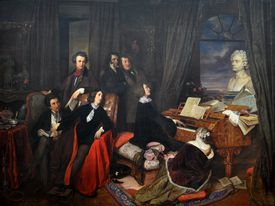 Franz Liszt Fantasizing at the Piano, 1840. Found in the collection of the Staatliche Museen, Berlin.