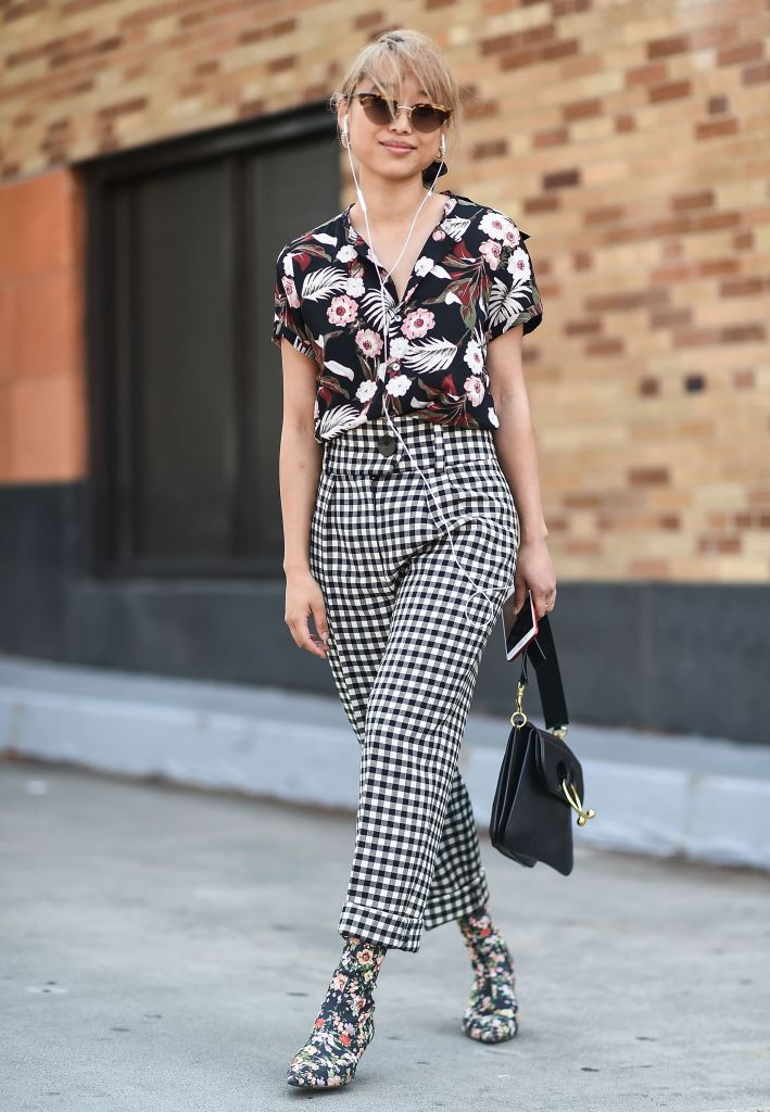 Street style floral shirt and checked trousers