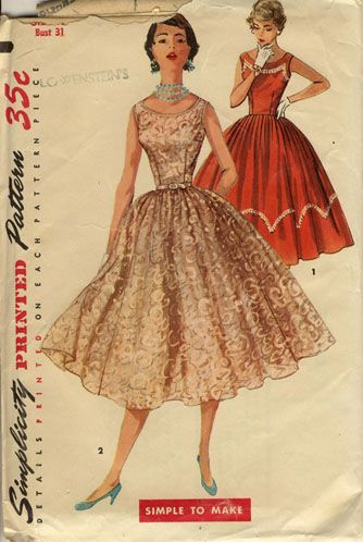 Vintage 40s Dress Patterns And Instructions New 50s Style Dress Patterns