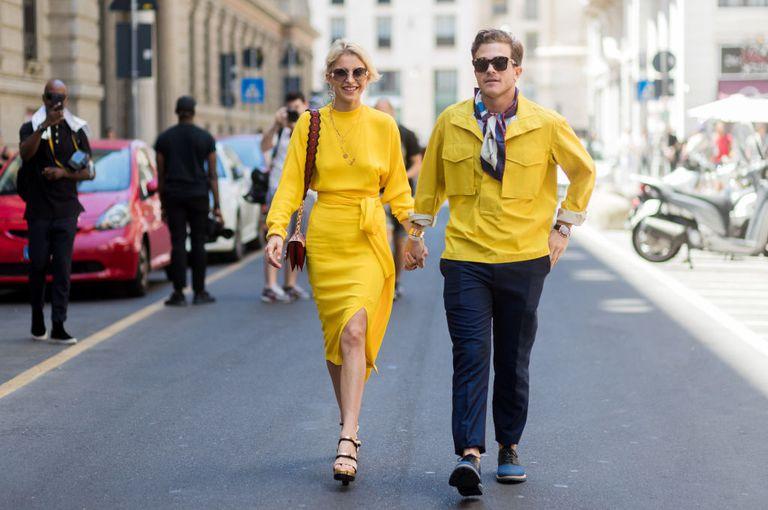 Couple Walking During Fashion Week