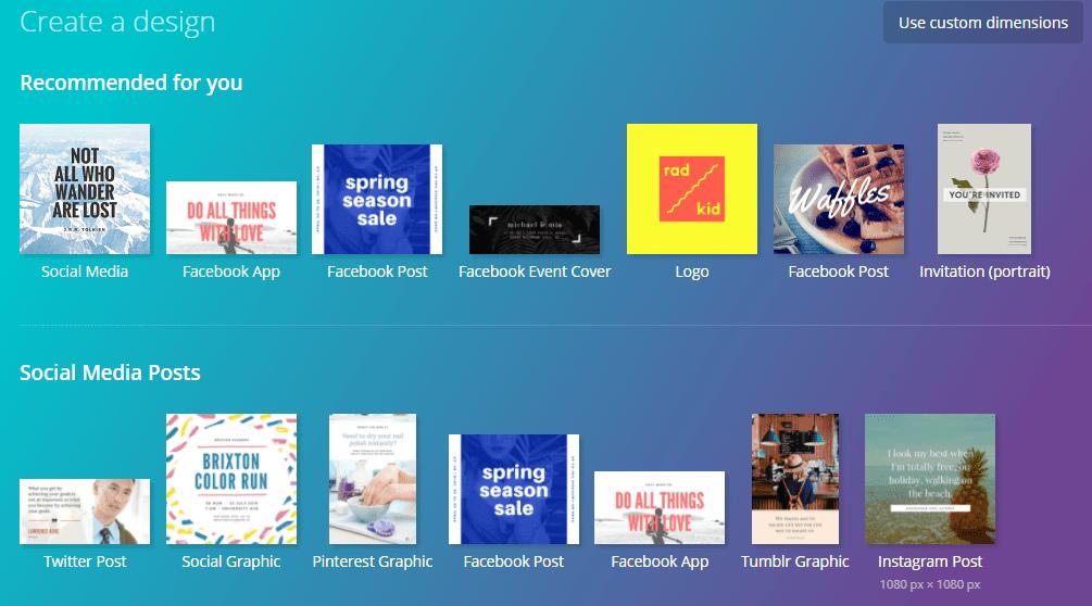 Screenshot Canva Social Media Design Options