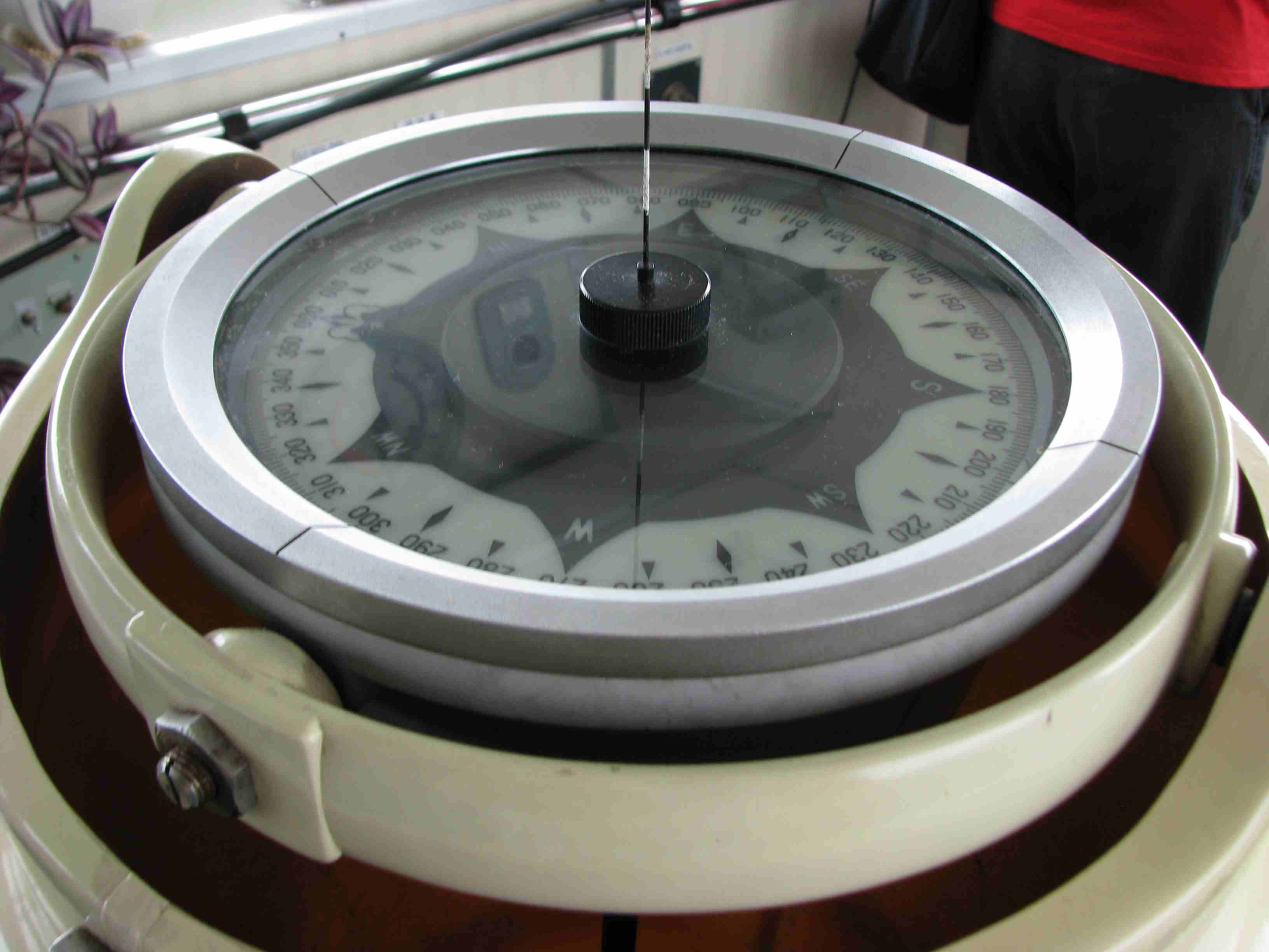 A nautical compass with rotating disk