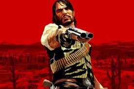 John Marston holds a gun in Red Dead Redemption for Xbox 360