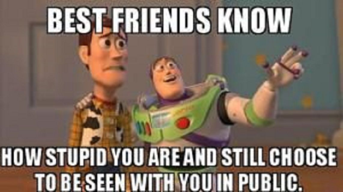 Woody and Buzz from Toy Story with text: Best friends know how stupid you are and still choose to be seen with you in public