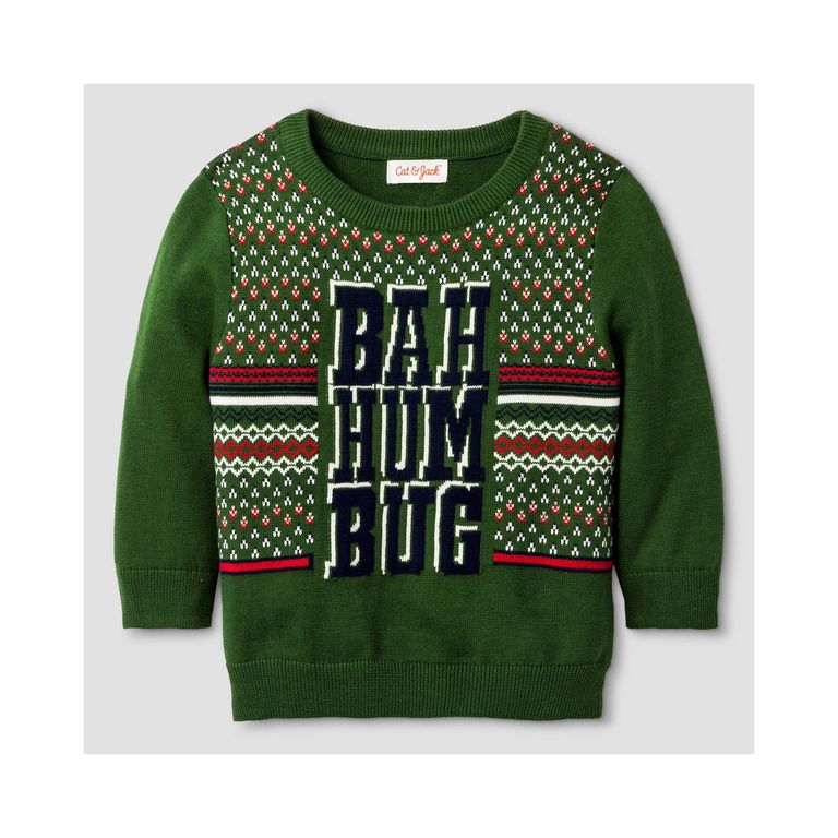 Baby Boys' Ugly Pullover Christmas Sweater Cat & Jack Bah Hum Bug