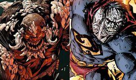 Comic panel of Doomsday and Bizarro