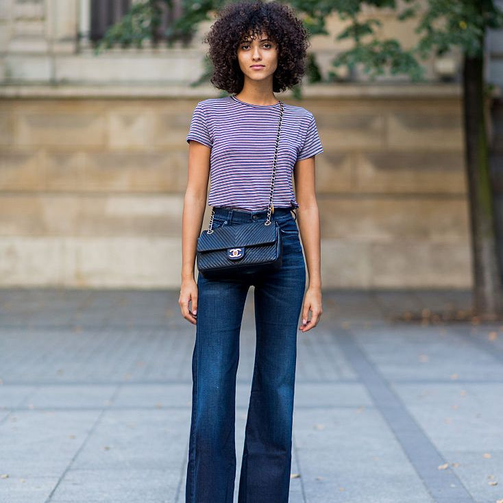 Street style flare jeans and striped t-shirt