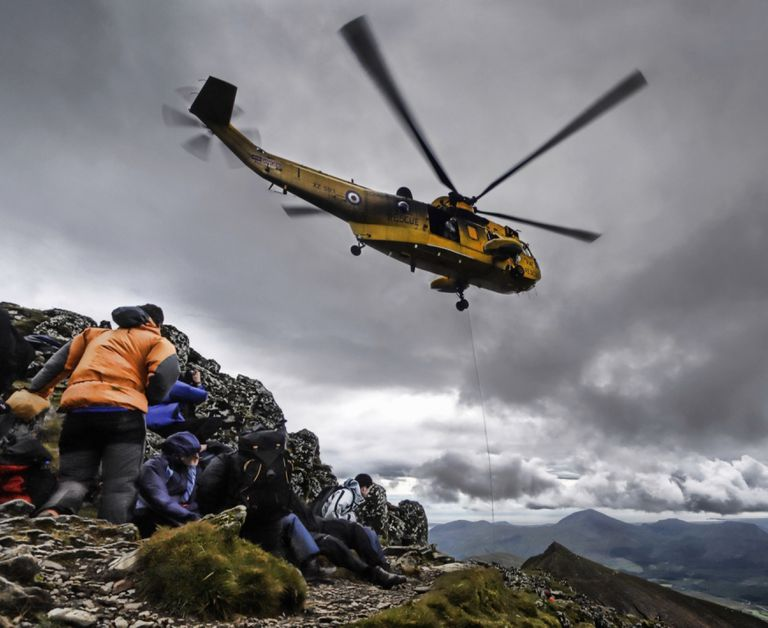 Helicopter rescue on Mount Snowdon in Wales
