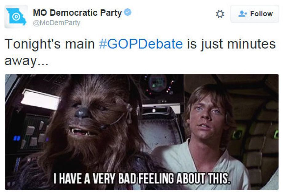 Chewbacca and Luke meme about GOP debate