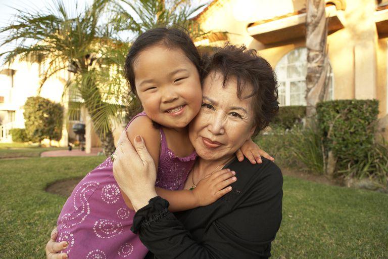 Korean grandmother and granddaughter