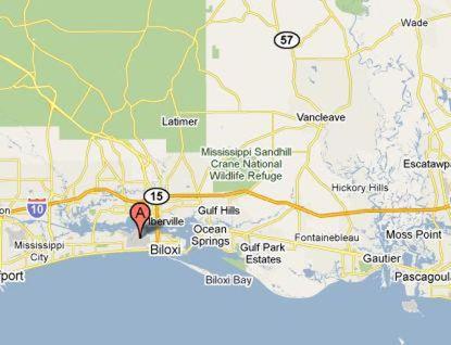 Map showing location of Keesler base