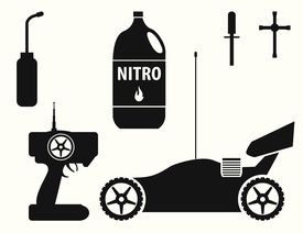 Illustration of RC car, controller, and Nitro Fuel