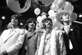 ABBEY RD STUDIOS Photo of BEATLES, Paul McCartney, George Harrison, Ringo Starr, John Lennon posed, group shot at press conference before performing All You Need Is Love on world satellite link up