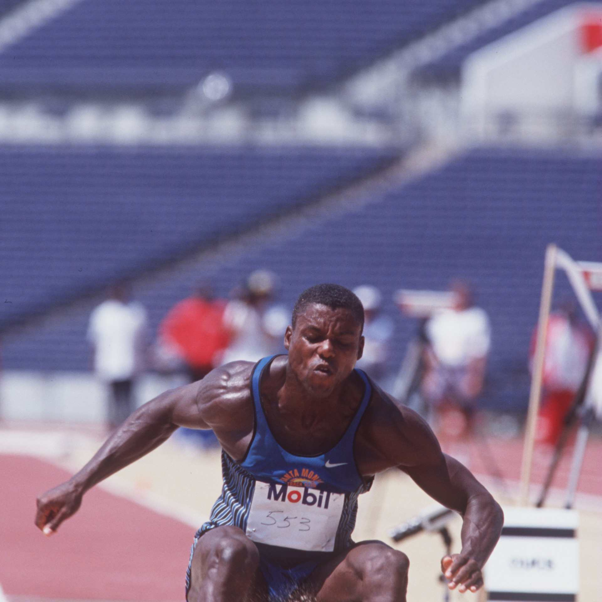 Olympian Carl Lewis of the USA in action in the long jump event