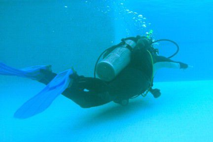 Exhale and swim slowly to the surface during the Controlled Emergency Swimming Ascent (CESA)