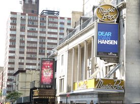 A pair of Broadway theater marquees