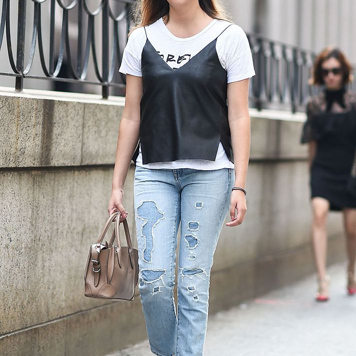 Street style distressed jeans