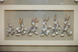 An animation cell showing the evolution of the popular Warner Bros. cartoon character Bugs Bunny