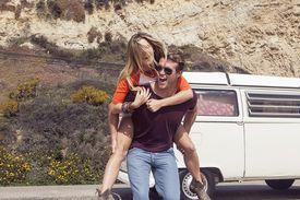 Couple enjoying camper van vacation