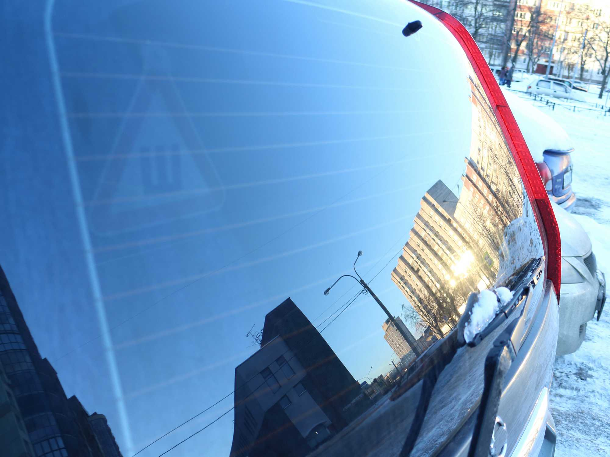 tinted rear window of an suv