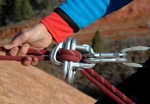 Make sure the carabiner gates are opposed to each other so they don't accidently open.