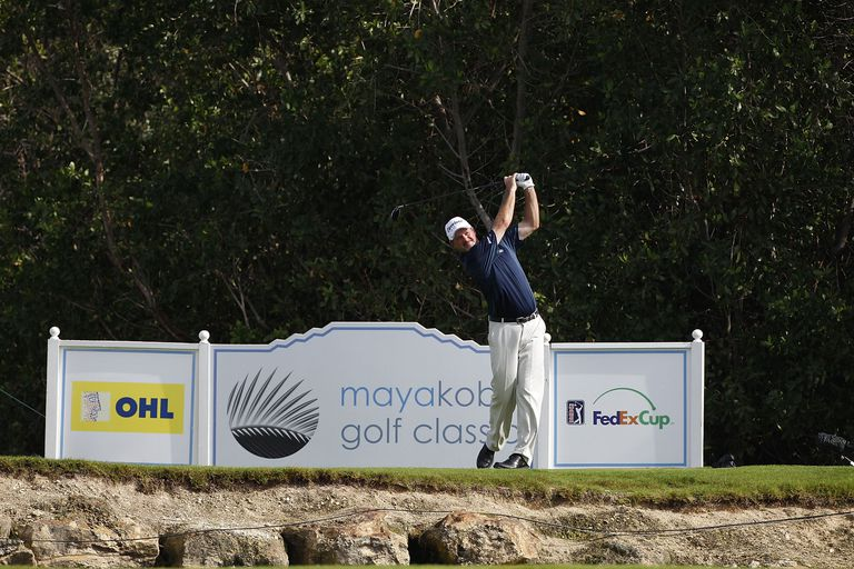 Jerry Kelly tees off during the Mayakoba Golf Classic tournament on the PGA Tour.