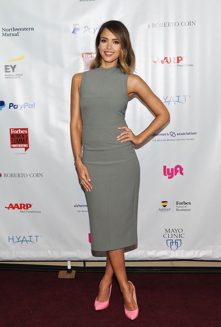 Jessica Alba in a sheath dress