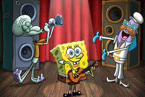 SpongeBob SquarePants playing on stage