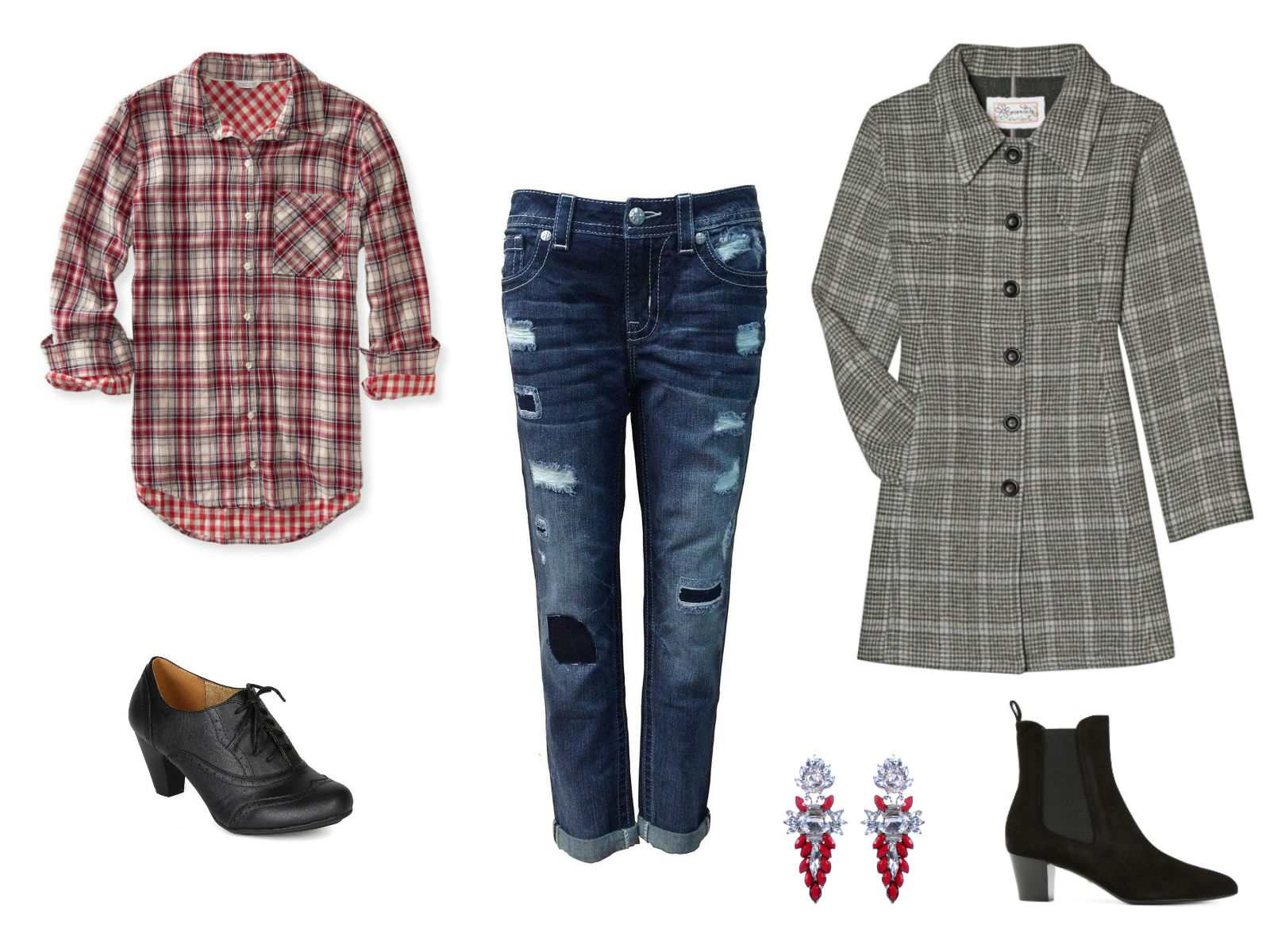 Boyfriend jeans with a plaid shirt and coat