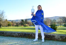 Catriona Matthew of Scotland poses with the Solheim Cup as she is named as the 2021 European Solheim Cup Captain during the 2021 European Solheim Cup Captain Announcement at Gleneagles on November 14, 2019 in Auchterarder, Scotland.