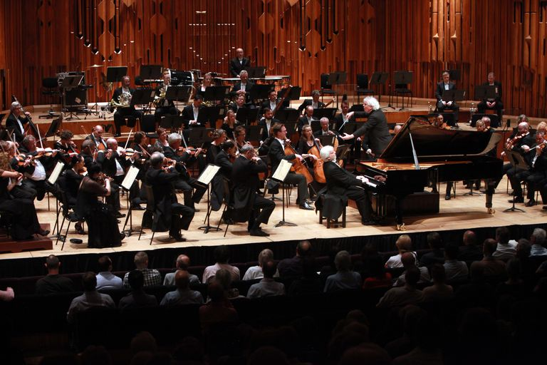 Polish pianist Krystian Zimerman performs Brahms's First Piano Concerto with conductor Sir Simon Rattle leading the London Symphony Orchestra (LSO) at Barbican Centre on July 2, 2015 in London, United Kingdom.