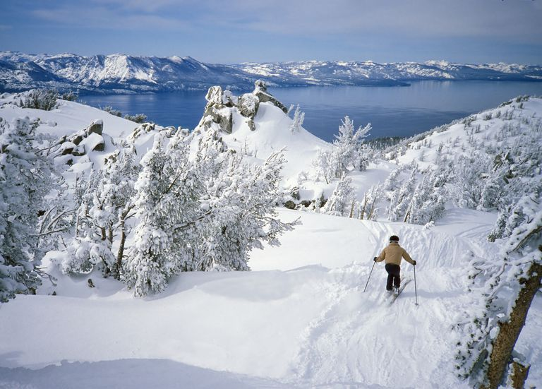 Downhill skier at Alpine Lake Tahoe