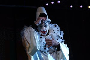 A man portraying Canio in Pagliacci