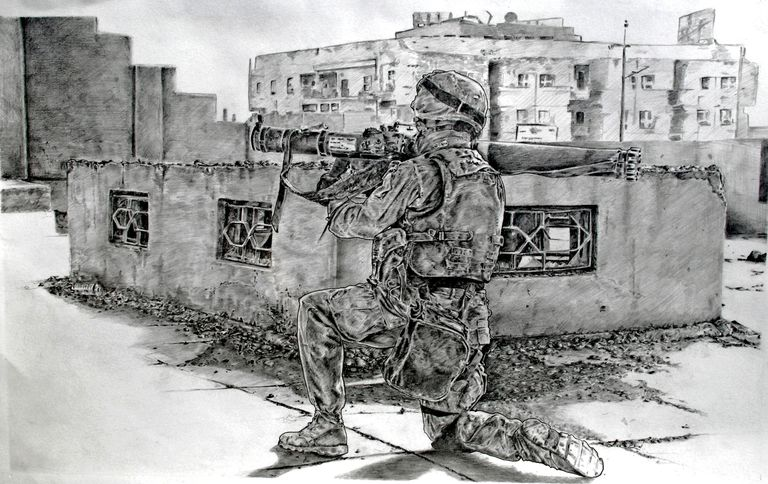 A graphite drawing of a soldier on a rooftop.