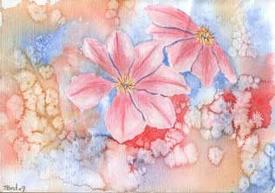 Salt-and-watercolor painting