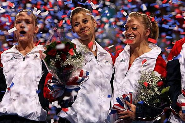 Bridget Sloan, Alicia Sacramone, and Samantha Peszek at the 2008 US Olympic Trials