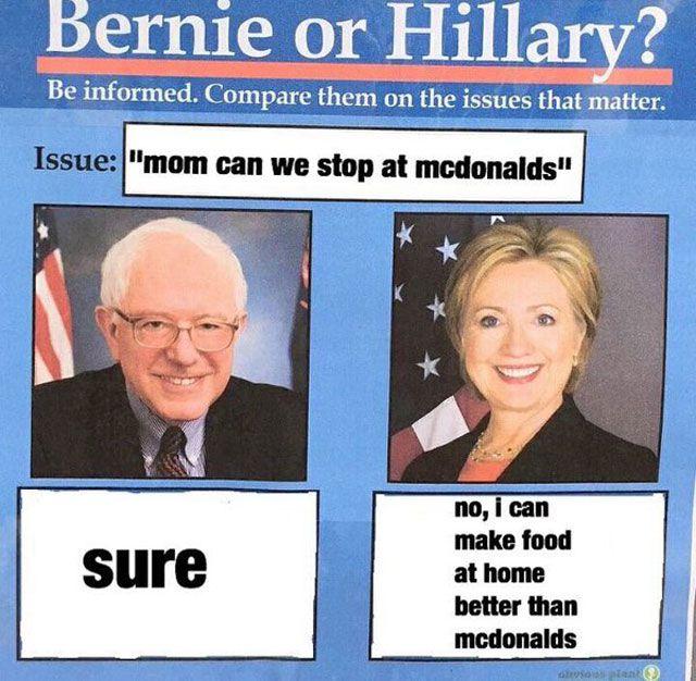 Bernie vs HIllary Meme McDonalds