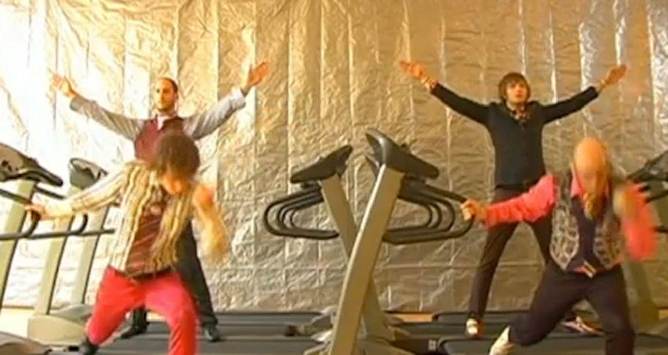 A screen capture of the OK Go group doing their viral meme Treadmill Dance.