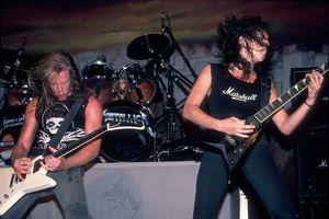 James Hetfield and Kirk Hemmett of Metallica performing live in 1986